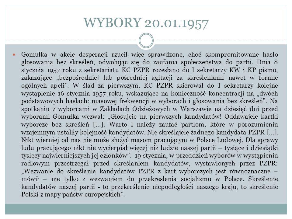 WYBORY 20.01.1957 Gomułka w akcie desperacji rzucił więc sprawdzone, choć skompromitowane hasło głosowania bez skreśleń, odwołując się do zaufania spo