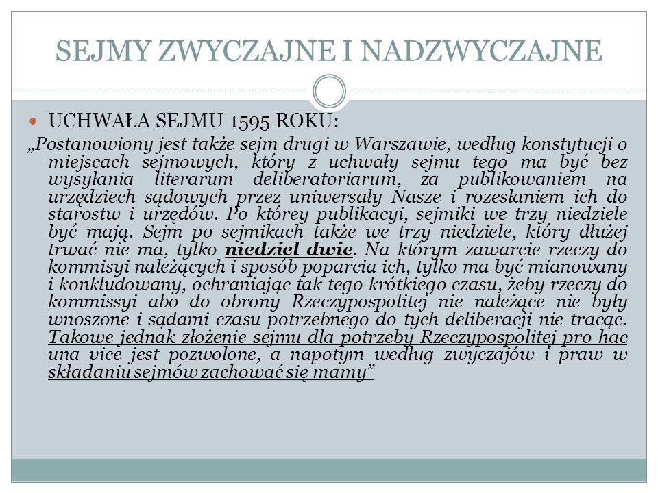 SEJMY ZWYCZAJNE I NADZWYCZAJNE UCHWAŁA SEJMU 1595 ROKU: Postanowiony jest także sejm drugi w Warszawie, według konstytucji o miejscach sejmowych, któr