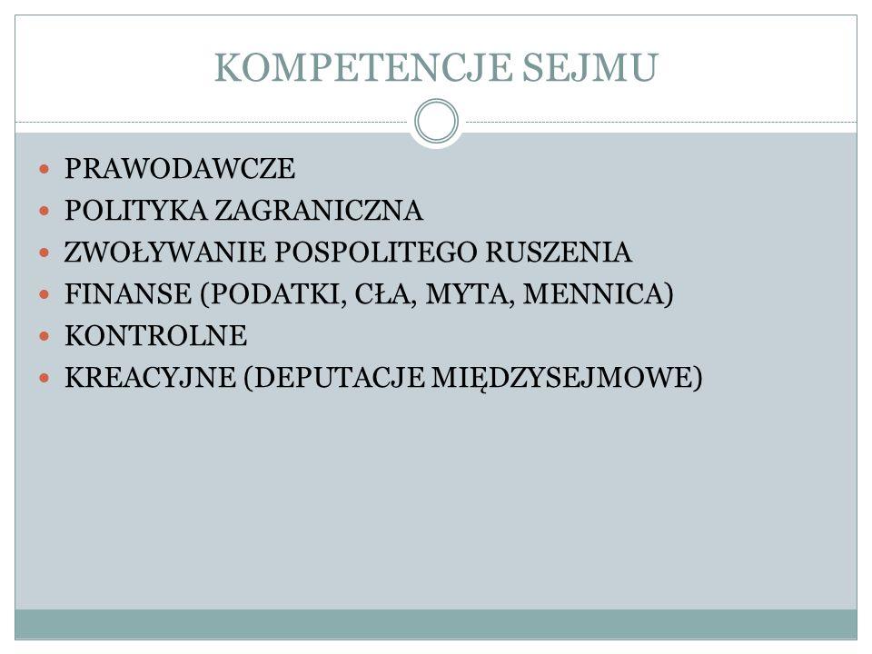 KOMPETENCJE SEJMU PRAWODAWCZE POLITYKA ZAGRANICZNA ZWOŁYWANIE POSPOLITEGO RUSZENIA FINANSE (PODATKI, CŁA, MYTA, MENNICA) KONTROLNE KREACYJNE (DEPUTACJ
