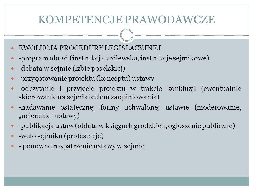 KOMPETENCJE PRAWODAWCZE EWOLUCJA PROCEDURY LEGISLACYJNEJ -program obrad (instrukcja królewska, instrukcje sejmikowe) -debata w sejmie (izbie poselskie