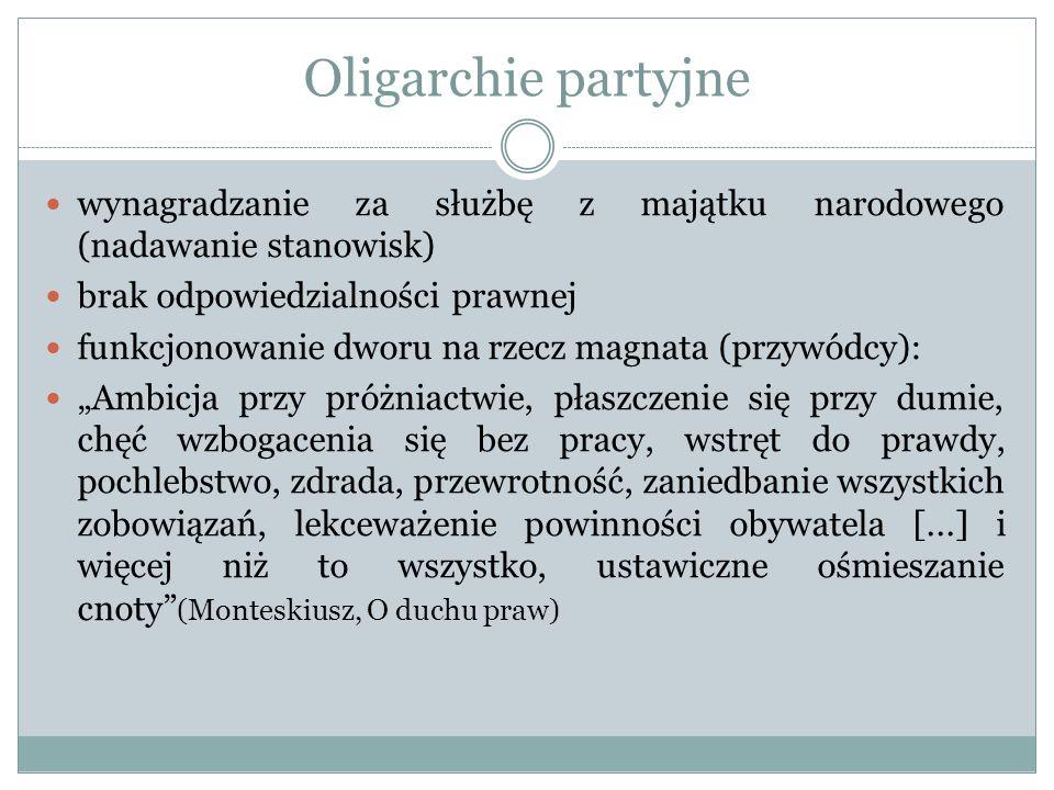 Oligarchie partyjne wynagradzanie za służbę z majątku narodowego (nadawanie stanowisk) brak odpowiedzialności prawnej funkcjonowanie dworu na rzecz ma