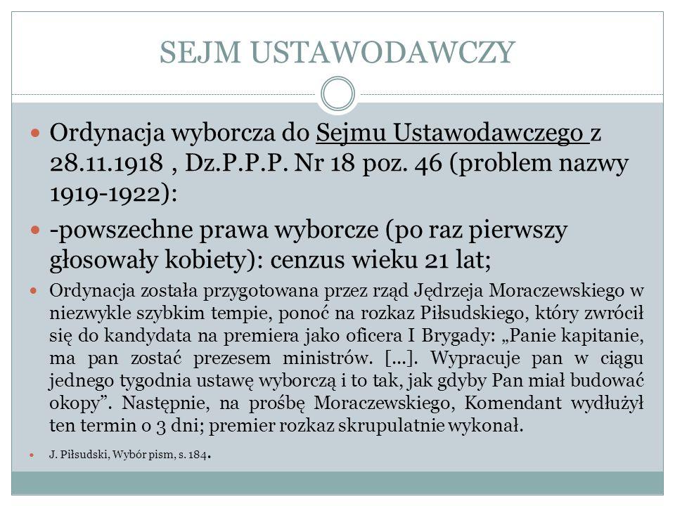 SEJM USTAWODAWCZY Ordynacja wyborcza do Sejmu Ustawodawczego z 28.11.1918, Dz.P.P.P. Nr 18 poz. 46 (problem nazwy 1919-1922): -powszechne prawa wyborc