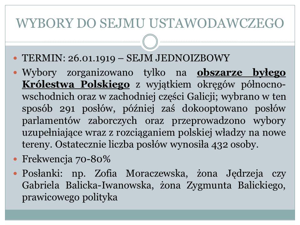 WYBORY DO SEJMU USTAWODAWCZEGO TERMIN: 26.01.1919 – SEJM JEDNOIZBOWY Wybory zorganizowano tylko na obszarze byłego Królestwa Polskiego z wyjątkiem okr
