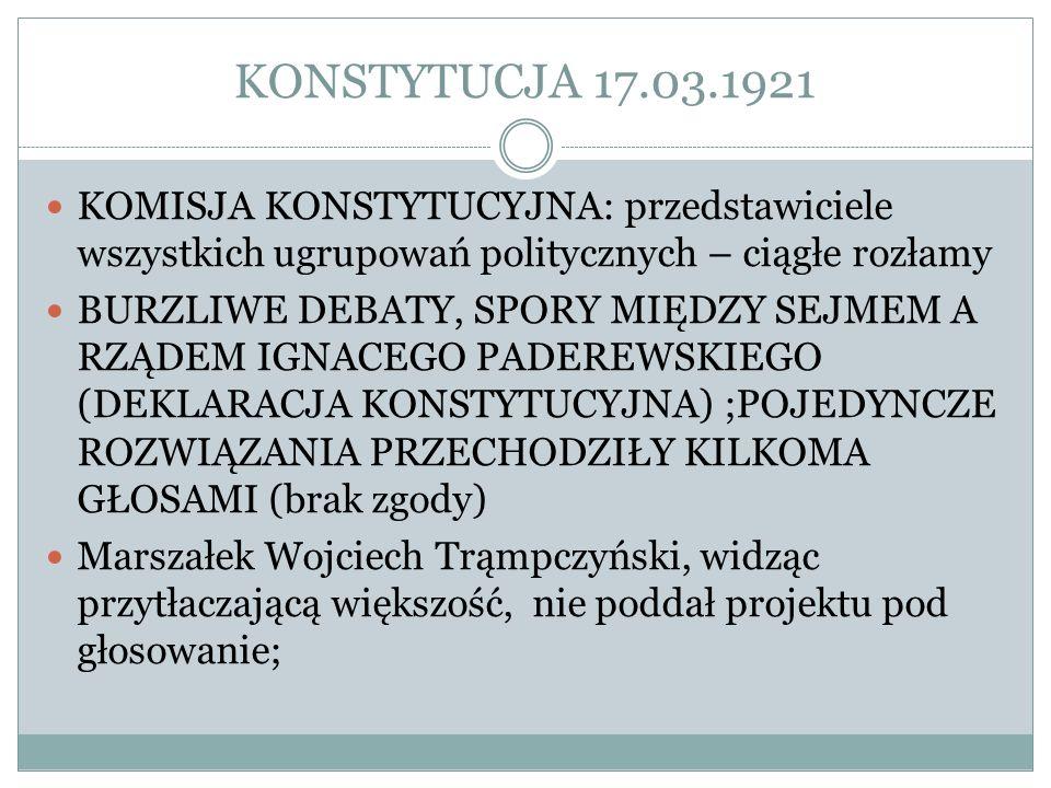 KONSTYTUCJA 17.03.1921 KOMISJA KONSTYTUCYJNA: przedstawiciele wszystkich ugrupowań politycznych – ciągłe rozłamy BURZLIWE DEBATY, SPORY MIĘDZY SEJMEM