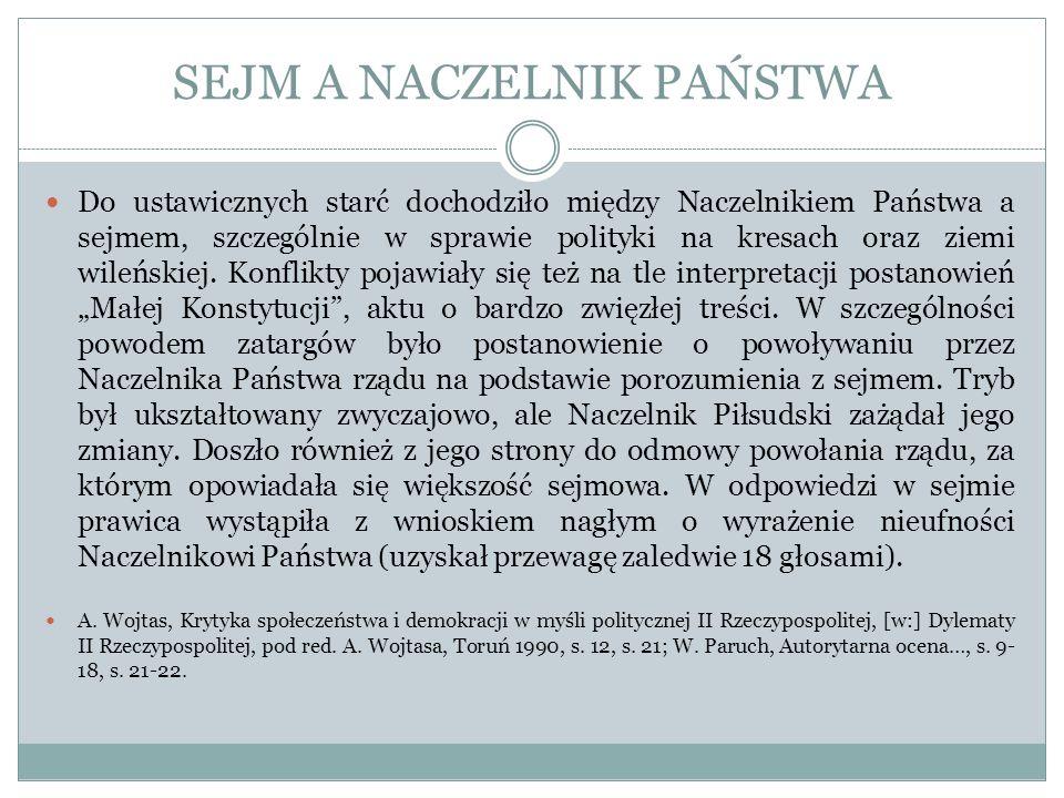 SEJM A NACZELNIK PAŃSTWA Do ustawicznych starć dochodziło między Naczelnikiem Państwa a sejmem, szczególnie w sprawie polityki na kresach oraz ziemi w