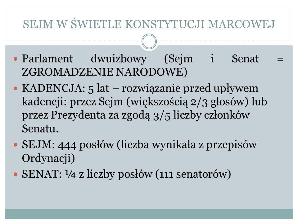 SEJM W ŚWIETLE KONSTYTUCJI MARCOWEJ Parlament dwuizbowy (Sejm i Senat = ZGROMADZENIE NARODOWE) KADENCJA: 5 lat – rozwiązanie przed upływem kadencji: p