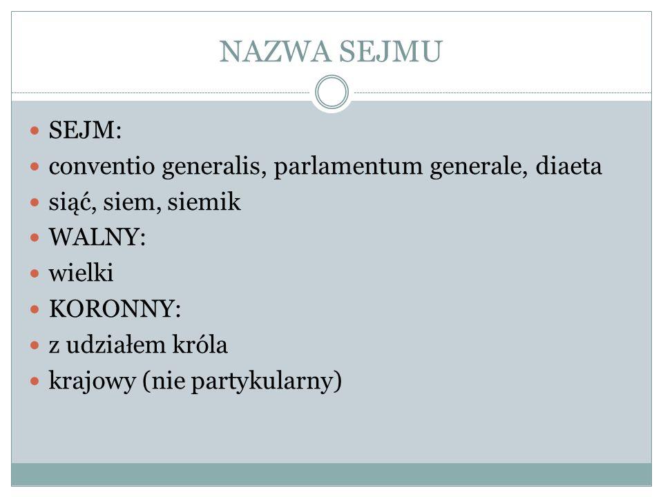 KOMPETENCJE SEJMU PRAWODAWCZE POLITYKA ZAGRANICZNA ZWOŁYWANIE POSPOLITEGO RUSZENIA FINANSE (PODATKI, CŁA, MYTA, MENNICA) KONTROLNE KREACYJNE (DEPUTACJE MIĘDZYSEJMOWE)