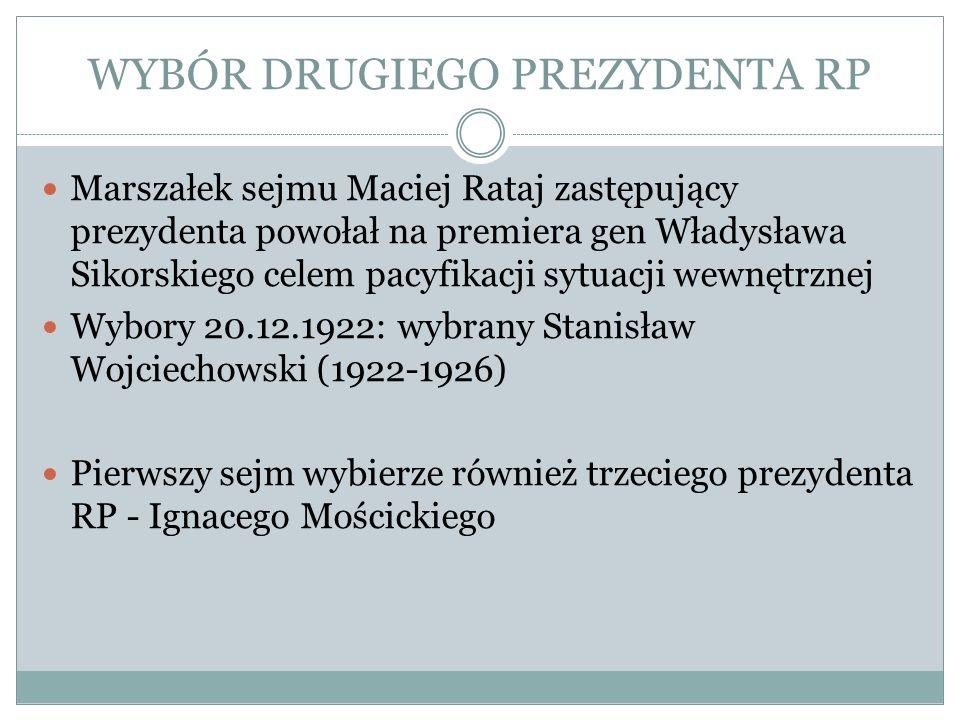 WYBÓR DRUGIEGO PREZYDENTA RP Marszałek sejmu Maciej Rataj zastępujący prezydenta powołał na premiera gen Władysława Sikorskiego celem pacyfikacji sytu