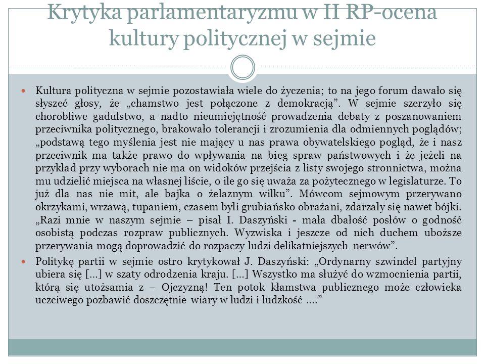 Krytyka parlamentaryzmu w II RP-ocena kultury politycznej w sejmie Kultura polityczna w sejmie pozostawiała wiele do życzenia; to na jego forum dawało