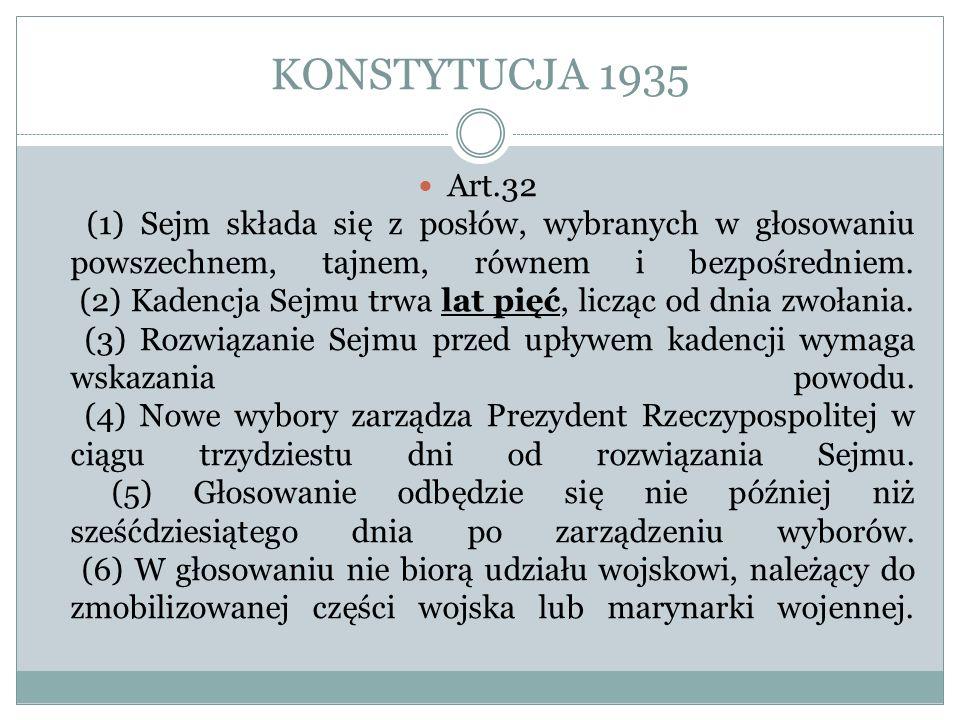 KONSTYTUCJA 1935 Art.32 (1) Sejm składa się z posłów, wybranych w głosowaniu powszechnem, tajnem, równem i bezpośredniem. (2) Kadencja Sejmu trwa lat
