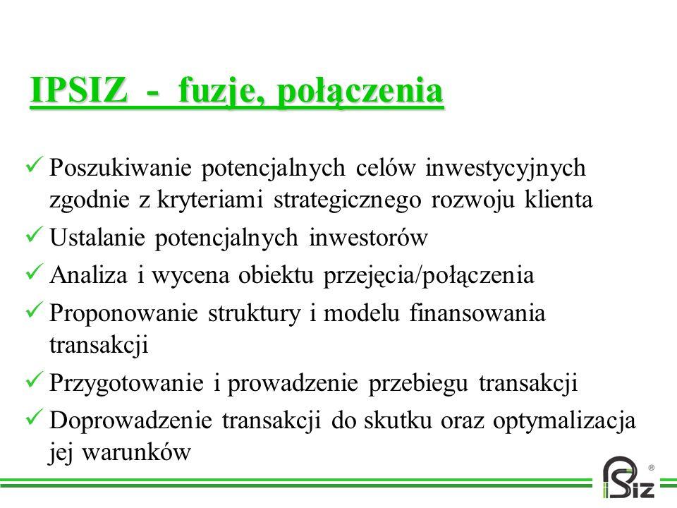 IPSIZ - fuzje, połączenia Poszukiwanie potencjalnych celów inwestycyjnych zgodnie z kryteriami strategicznego rozwoju klienta Ustalanie potencjalnych