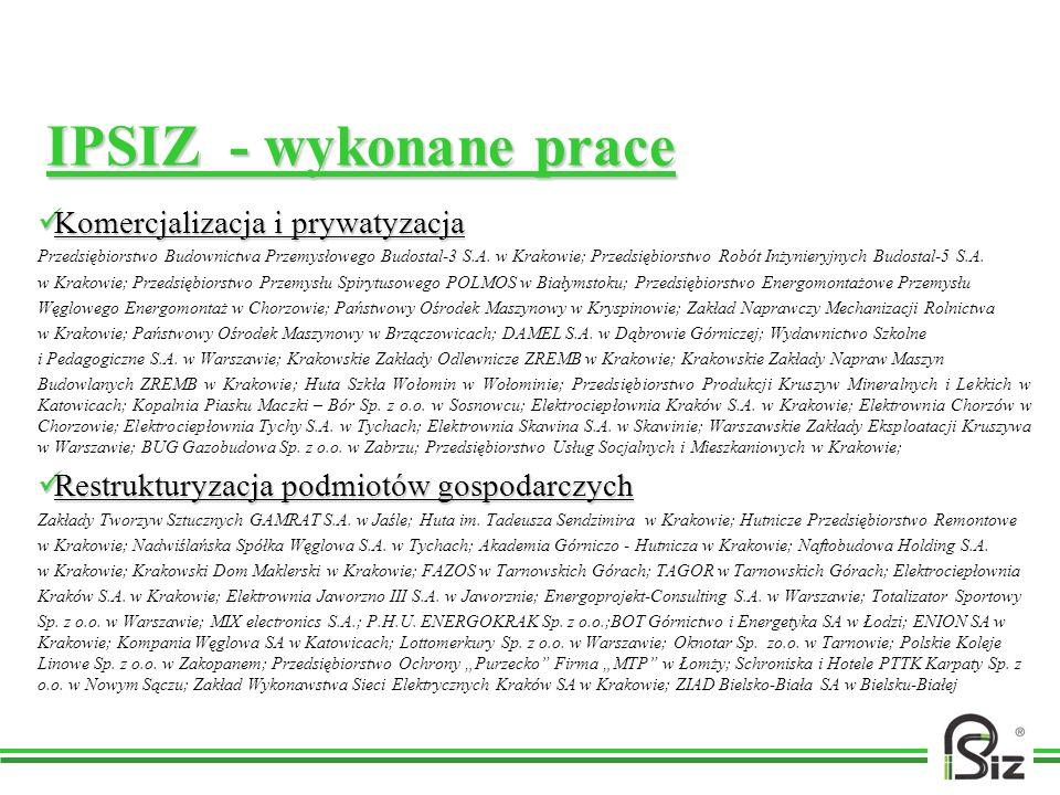 IPSIZ - wykonane prace Komercjalizacja i prywatyzacja Komercjalizacja i prywatyzacja Przedsiębiorstwo Budownictwa Przemysłowego Budostal-3 S.A. w Krak