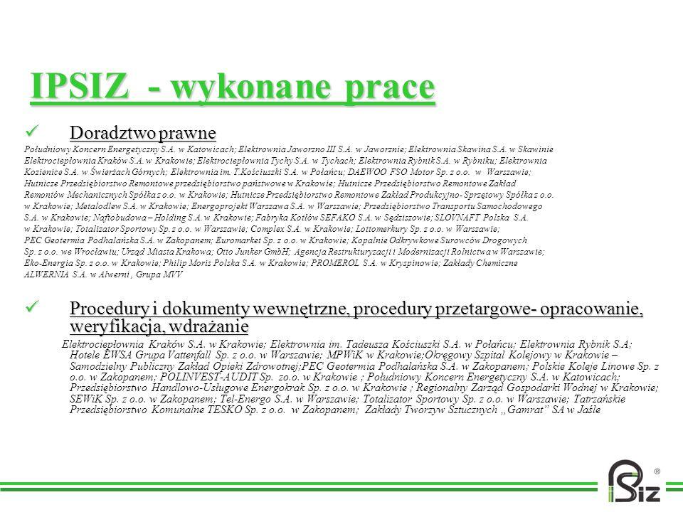 IPSIZ - wykonane prace Doradztwo prawne Doradztwo prawne Południowy Koncern Energetyczny S.A. w Katowicach; Elektrownia Jaworzno III S.A. w Jaworznie;