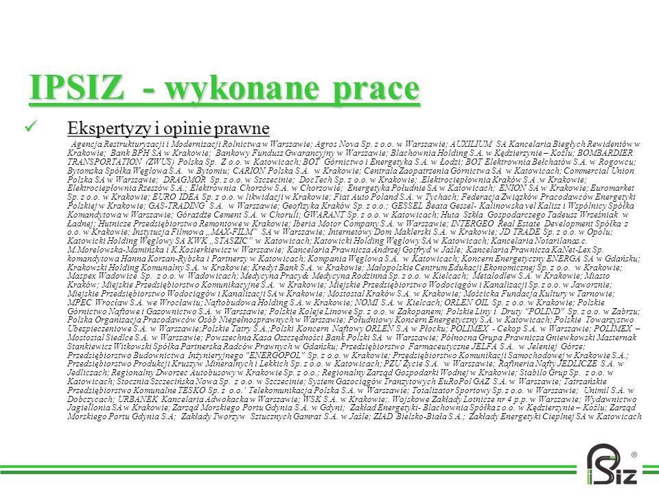 IPSIZ - wykonane prace Ekspertyzy i opinie prawne Ekspertyzy i opinie prawne Agencja Restrukturyzacji i Modernizacji Rolnictwa w Warszawie; Agros Nova