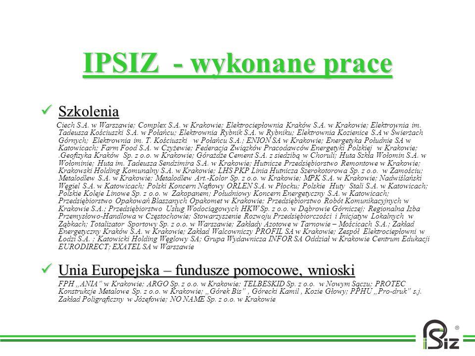 IPSIZ - wykonane prace Szkolenia Szkolenia Ciech S.A. w Warszawie; Complex S.A. w Krakowie; Elektrociepłownia Kraków S.A. w Krakowie; Elektrownia im.