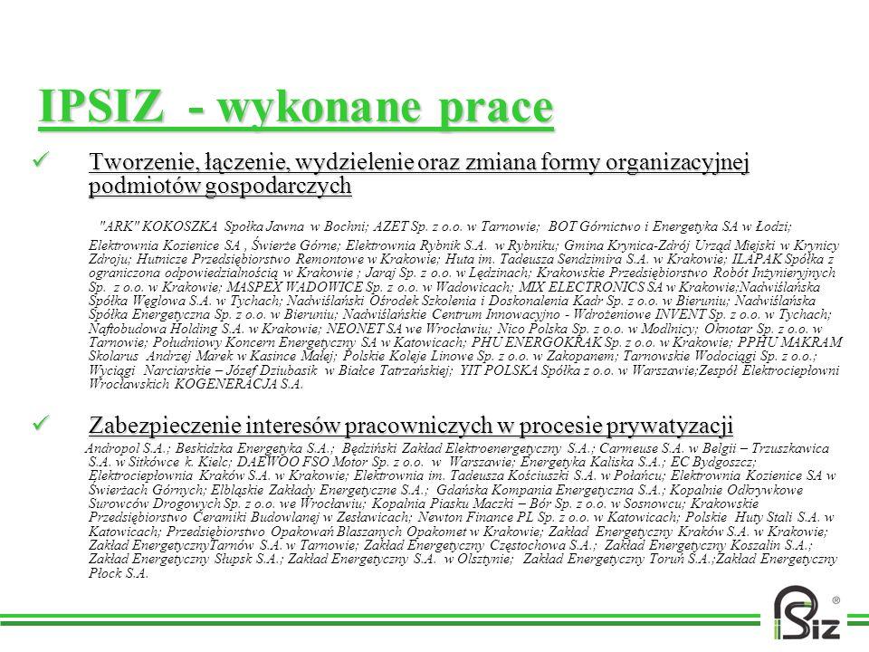 IPSIZ - wykonane prace Tworzenie, łączenie, wydzielenie oraz zmiana formy organizacyjnej podmiotów gospodarczych Tworzenie, łączenie, wydzielenie oraz