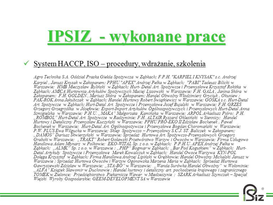 IPSIZ - wykonane prace System HACCP, ISO – procedury, wdrażanie, szkolenia System HACCP, ISO – procedury, wdrażanie, szkolenia Agro Technika S.A. Oddz