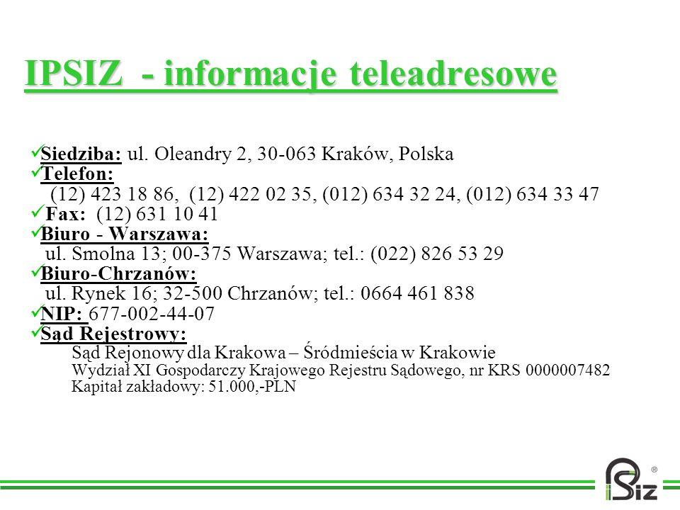 IPSIZ - informacje teleadresowe Siedziba: ul. Oleandry 2, 30-063 Kraków, Polska Telefon: (12) 423 18 86, (12) 422 02 35, (012) 634 32 24, (012) 634 33