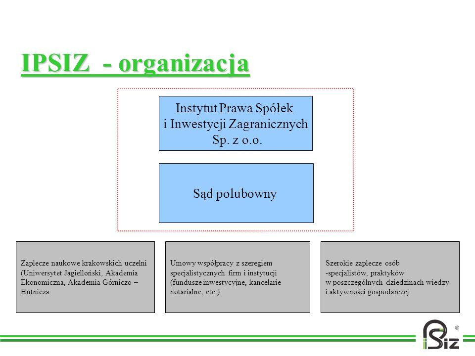 IPSIZ - organizacja Instytut Prawa Spółek i Inwestycji Zagranicznych Sp. z o.o. Sąd polubowny Zaplecze naukowe krakowskich uczelni (Uniwersytet Jagiel