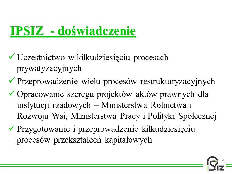IPSIZ - doświadczenie Uczestnictwo w kilkudziesięciu procesach prywatyzacyjnych Przeprowadzenie wielu procesów restrukturyzacyjnych Opracowanie szereg