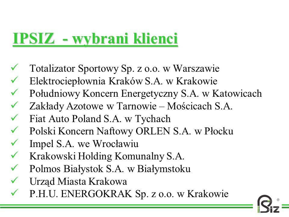 IPSIZ - wybrani klienci Totalizator Sportowy Sp. z o.o. w Warszawie Elektrociepłownia Kraków S.A. w Krakowie Południowy Koncern Energetyczny S.A. w Ka