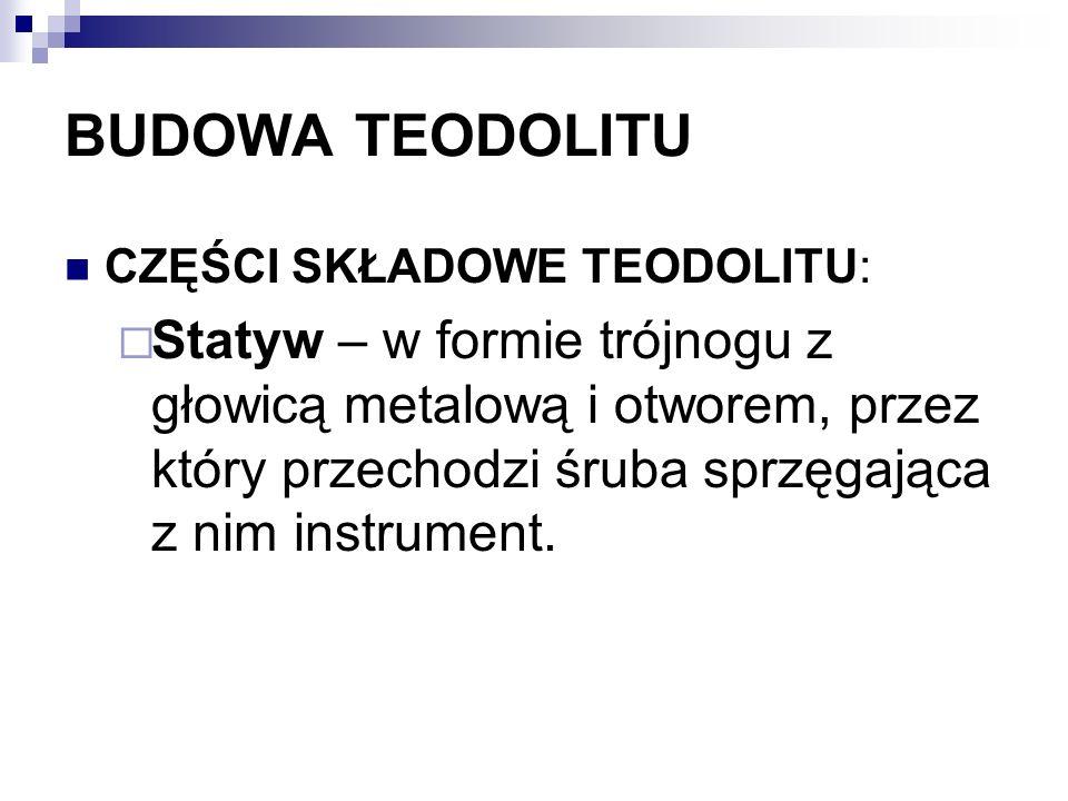 BUDOWA TEODOLITU CZĘŚCI SKŁADOWE TEODOLITU: Statyw – w formie trójnogu z głowicą metalową i otworem, przez który przechodzi śruba sprzęgająca z nim in
