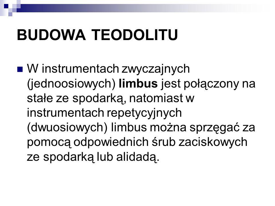 BUDOWA TEODOLITU W instrumentach zwyczajnych (jednoosiowych) limbus jest połączony na stałe ze spodarką, natomiast w instrumentach repetycyjnych (dwuo