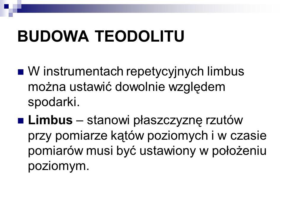 BUDOWA TEODOLITU W instrumentach repetycyjnych limbus można ustawić dowolnie względem spodarki. Limbus – stanowi płaszczyznę rzutów przy pomiarze kątó
