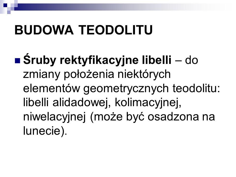 BUDOWA TEODOLITU Śruby rektyfikacyjne libelli – do zmiany położenia niektórych elementów geometrycznych teodolitu: libelli alidadowej, kolimacyjnej, n