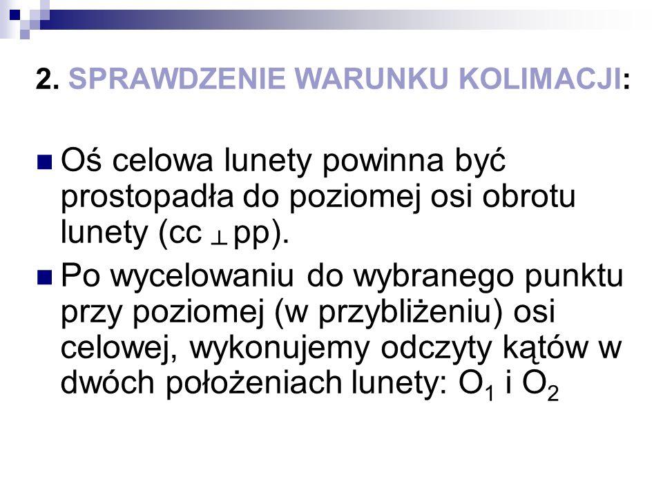 2. SPRAWDZENIE WARUNKU KOLIMACJI: Oś celowa lunety powinna być prostopadła do poziomej osi obrotu lunety (cc pp). Po wycelowaniu do wybranego punktu p
