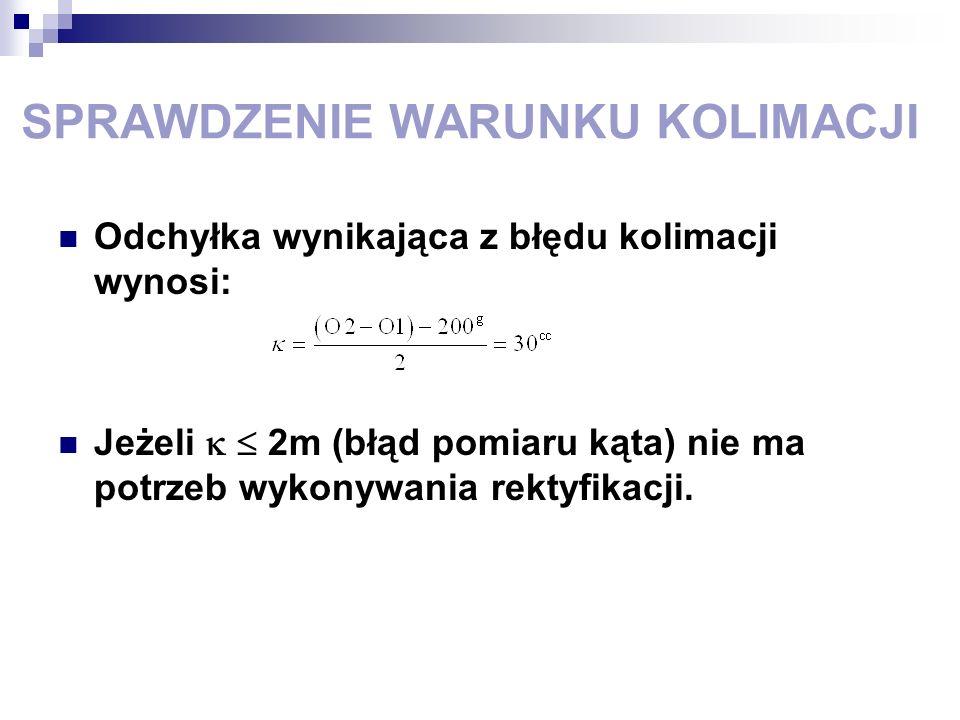 SPRAWDZENIE WARUNKU KOLIMACJI Odchyłka wynikająca z błędu kolimacji wynosi: Jeżeli 2m (błąd pomiaru kąta) nie ma potrzeb wykonywania rektyfikacji.