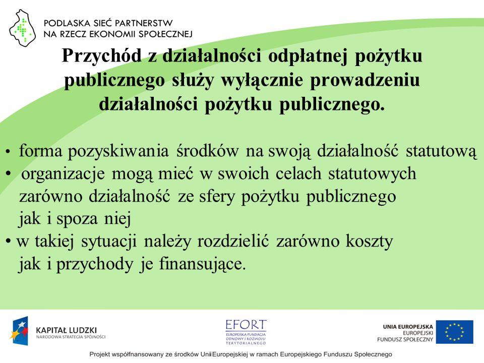 Przychód z działalności odpłatnej pożytku publicznego służy wyłącznie prowadzeniu działalności pożytku publicznego. forma pozyskiwania środków na swoj