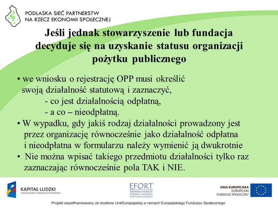 Jeśli jednak stowarzyszenie lub fundacja decyduje się na uzyskanie statusu organizacji pożytku publicznego we wniosku o rejestrację OPP musi określić