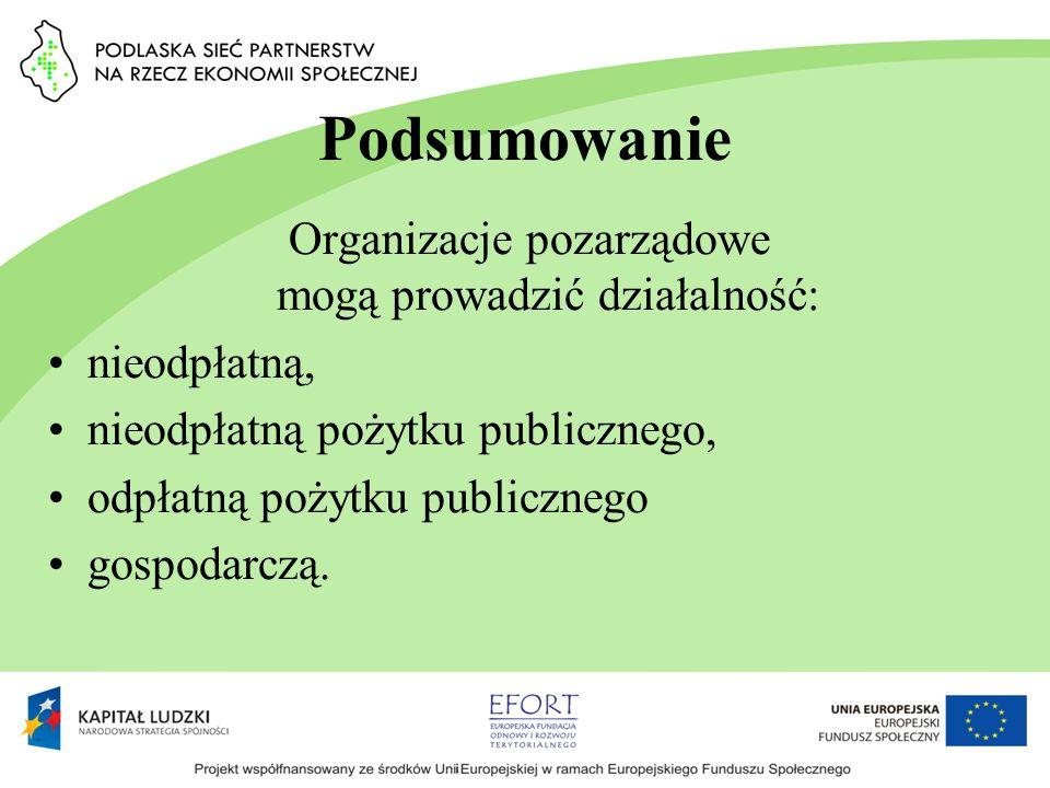 Podsumowanie Organizacje pozarządowe mogą prowadzić działalność: nieodpłatną, nieodpłatną pożytku publicznego, odpłatną pożytku publicznego gospodarcz