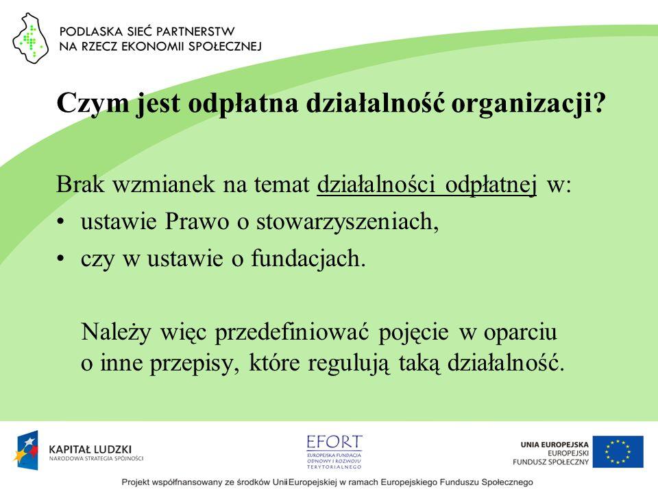 Czym jest odpłatna działalność organizacji? Brak wzmianek na temat działalności odpłatnej w: ustawie Prawo o stowarzyszeniach, czy w ustawie o fundacj