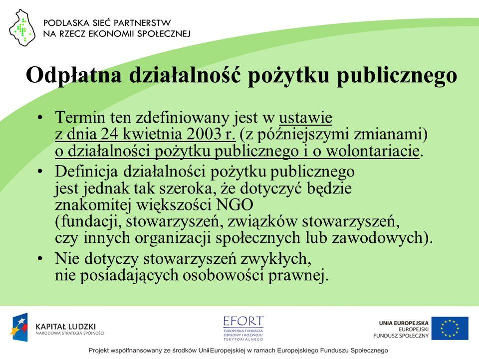 Odpłatna działalność pożytku publicznego Termin ten zdefiniowany jest w ustawie z dnia 24 kwietnia 2003 r. (z późniejszymi zmianami) o działalności po