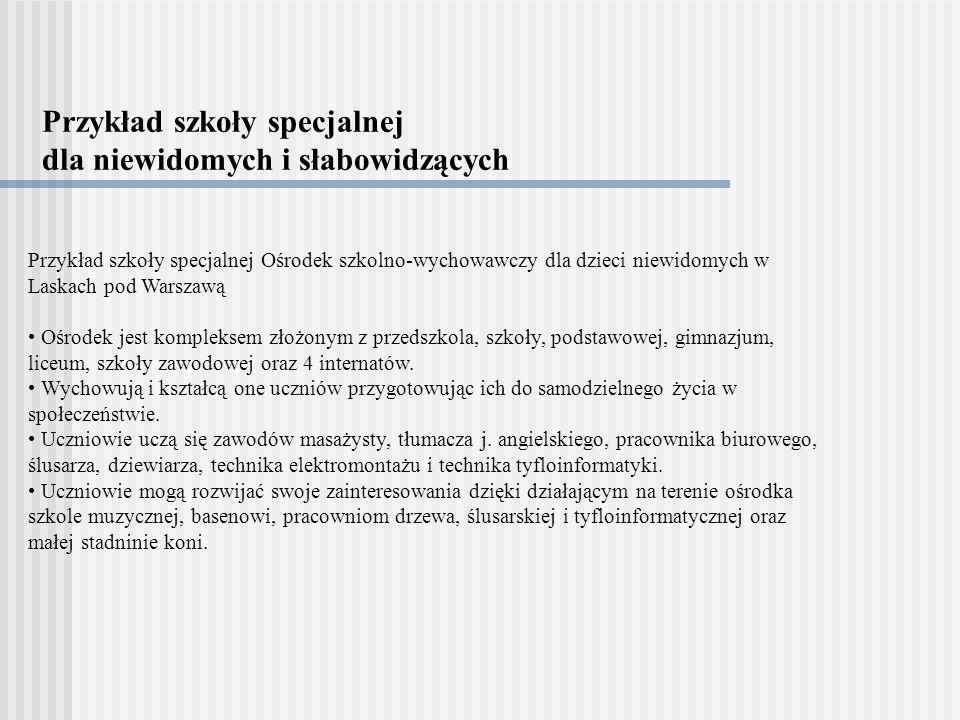 Przykład szkoły specjalnej dla niewidomych i słabowidzących Przykład szkoły specjalnej Ośrodek szkolno-wychowawczy dla dzieci niewidomych w Laskach po