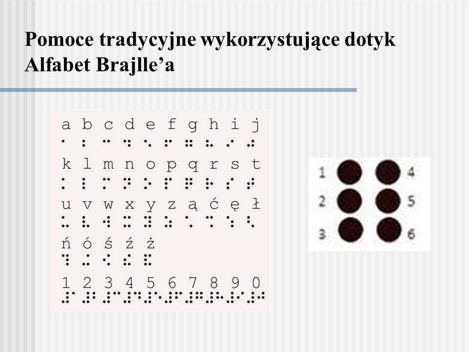 Pomoce tradycyjne wykorzystujące dotyk Alfabet Brajllea