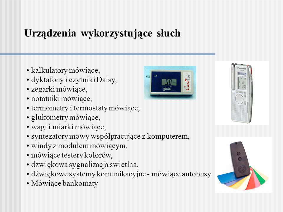 Urządzenia wykorzystujące słuch kalkulatory mówiące, dyktafony i czytniki Daisy, zegarki mówiące, notatniki mówiące, termometry i termostaty mówiące,