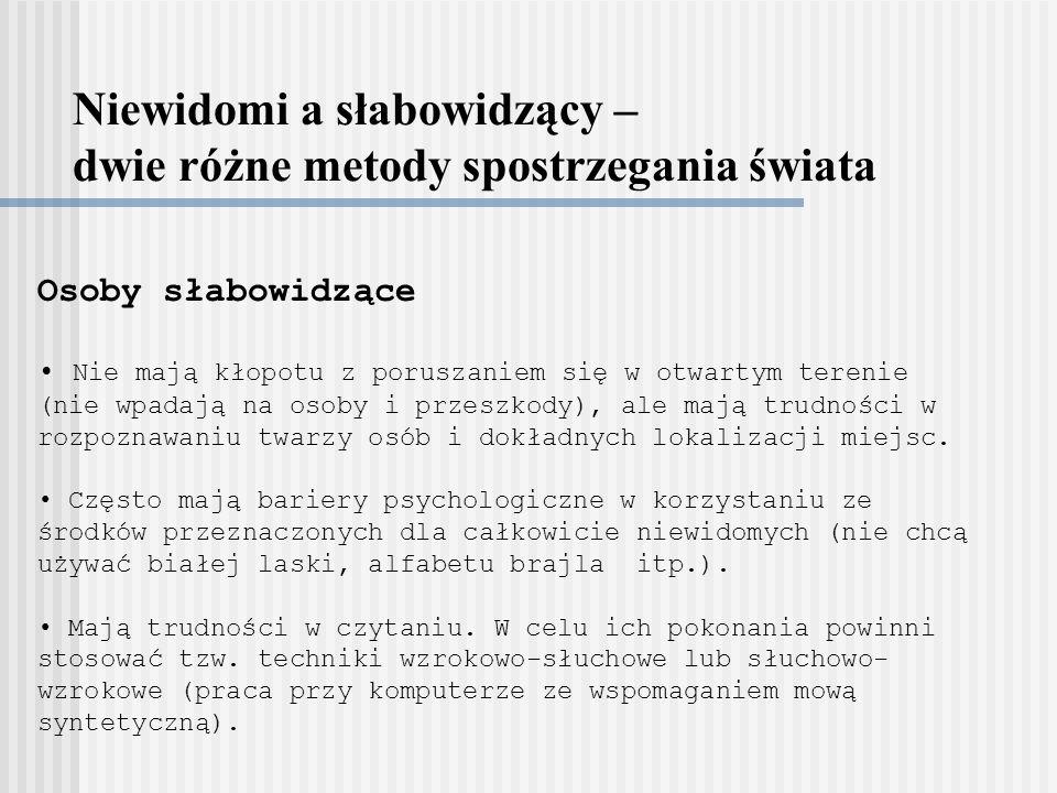 Niewidomi a słabowidzący – dwie różne metody spostrzegania świata Osoby słabowidzące Nie mają kłopotu z poruszaniem się w otwartym terenie (nie wpadaj