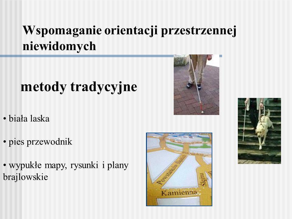 Wspomaganie orientacji przestrzennej niewidomych metody tradycyjne biała laska pies przewodnik wypukłe mapy, rysunki i plany brajlowskie