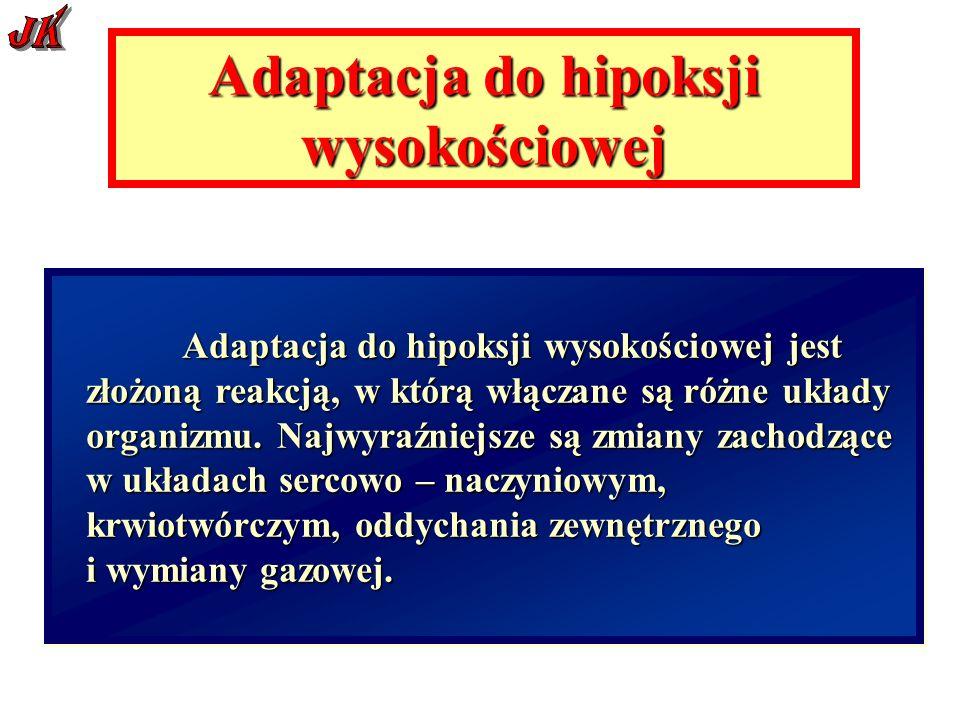 Adaptacja do hipoksji wysokościowej Adaptacja do hipoksji wysokościowej jest złożoną reakcją, w którą włączane są różne układy organizmu.