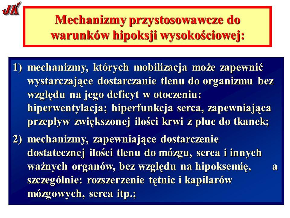 Mechanizmy przystosowawcze do warunków hipoksji wysokościowej: 1)mechanizmy, których mobilizacja może zapewnić wystarczające dostarczanie tlenu do organizmu bez względu na jego deficyt w otoczeniu: hiperwentylacja; hiperfunkcja serca, zapewniająca przepływ zwiększonej ilości krwi z płuc do tkanek; 2)mechanizmy, zapewniające dostarczenie dostatecznej ilości tlenu do mózgu, serca i innych ważnych organów, bez względu na hipoksemię, a szczególnie: rozszerzenie tętnic i kapilarów mózgowych, serca itp.;