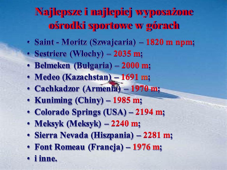 Najlepsze i najlepiej wyposażone ośrodki sportowe w górach Saint - Moritz (Szwajcaria) – ; Saint - Moritz (Szwajcaria) – 1820 m npm; Sestriere (Włochy) – ; Sestriere (Włochy) – 2035 m; Bełmeken (Bułgaria) – ; Bełmeken (Bułgaria) – 2000 m; Medeo (Kazachstan) – ; Medeo (Kazachstan) – 1691 m; Cachkadzor (Armenia) – ; Cachkadzor (Armenia) – 1970 m; Kuniming (Chiny) – ; Kuniming (Chiny) – 1985 m; Colorado Springs (USA) – ; Colorado Springs (USA) – 2194 m; Meksyk (Meksyk) – ; Meksyk (Meksyk) – 2240 m; Sierra Nevada (Hiszpania) – ; Sierra Nevada (Hiszpania) – 2281 m; Font Romeau (Francja) – 1976 m; Font Romeau (Francja) – 1976 m; i inne.