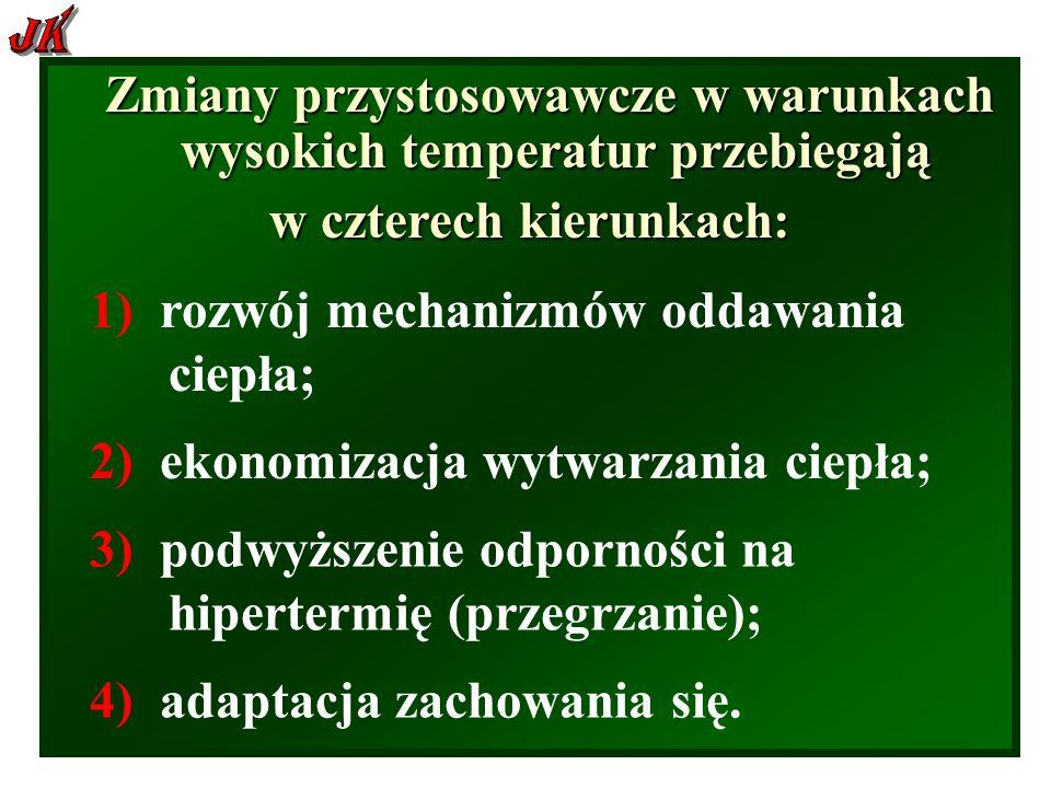 Zmiany przystosowawcze w warunkach wysokich temperatur przebiegają w czterech kierunkach: 1) rozwój mechanizmów oddawania ciepła; 2) ekonomizacja wytwarzania ciepła; 4) adaptacja zachowania się.