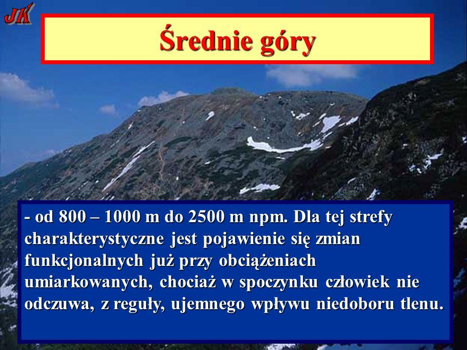 Średnie góry - od 800 – 1000 m do 2500 m npm.