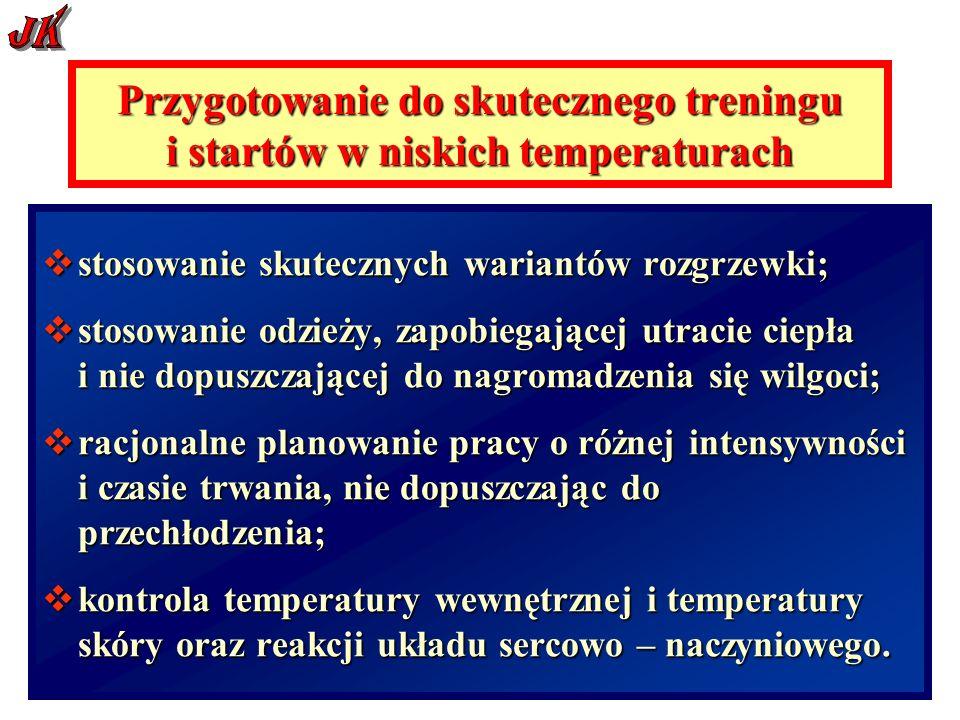 stosowanie skutecznych wariantów rozgrzewki; stosowanie skutecznych wariantów rozgrzewki; stosowanie odzieży, zapobiegającej utracie ciepła i nie dopuszczającej do nagromadzenia się wilgoci; stosowanie odzieży, zapobiegającej utracie ciepła i nie dopuszczającej do nagromadzenia się wilgoci; racjonalne planowanie pracy o różnej intensywności i czasie trwania, nie dopuszczając do przechłodzenia; racjonalne planowanie pracy o różnej intensywności i czasie trwania, nie dopuszczając do przechłodzenia; kontrola temperatury wewnętrznej i temperatury skóry oraz reakcji układu sercowo – naczyniowego.