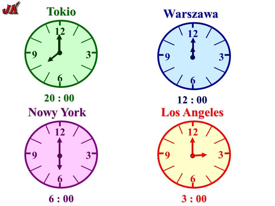 12 6 93 Tokio Warszawa 6 9 3 6 9 3 Nowy York 12 6 9 3 Los Angeles 20 : 00 12 : 00 6 : 00 3 : 00