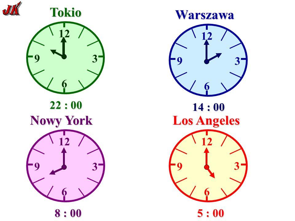 12 6 93 Tokio Warszawa 6 9 3 6 9 3 Nowy York 12 6 9 3 Los Angeles 21 : 00 13 : 00 7 : 00 4 : 00 23 : 00 15 : 00 9 : 00 6 : 00 22 : 00 14 : 00 8 : 00 5 : 00