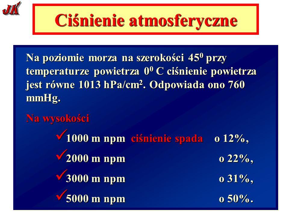 Ciśnienie atmosferyczne Na poziomie morza na szerokości 45 0 przy temperaturze powietrza 0 0 C ciśnienie powietrza jest równe 1013 hPa/cm 2.